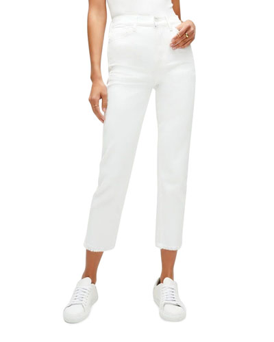 High-Rise Cropped Straight-Leg Jeans, White