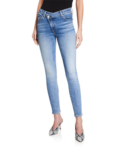 Asymmetric Front Skinny Ankle Jeans
