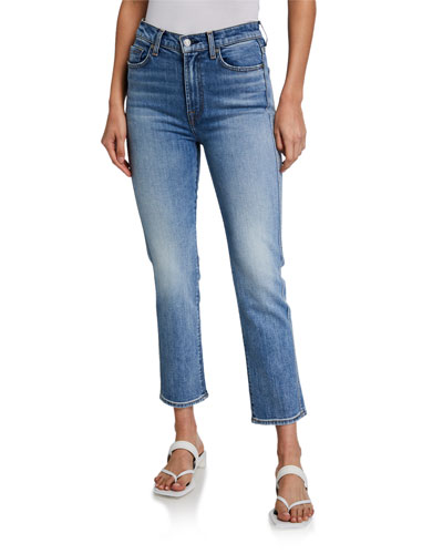 High-Waist Cropped Straight Jeans