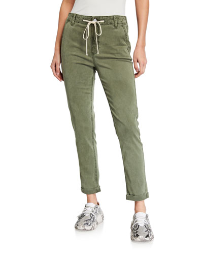 Cuffed Drawstring Ankle Pants