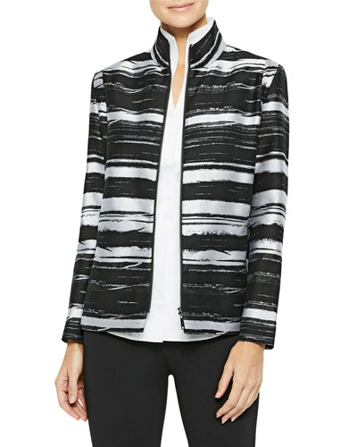Abstract Stripe Cotton Jacket