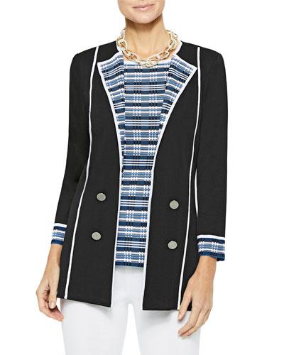 Digital Pattern Lapel Knit Jacket