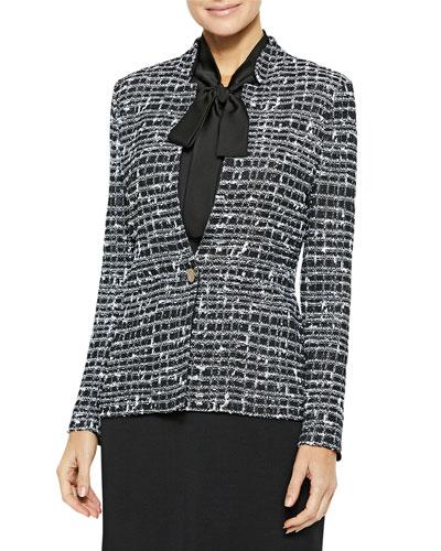 Graphic Tweed Knit Blazer