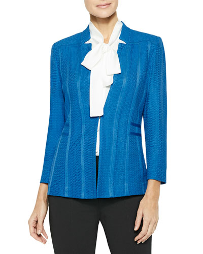 Notched Collar Textured Knit Blazer