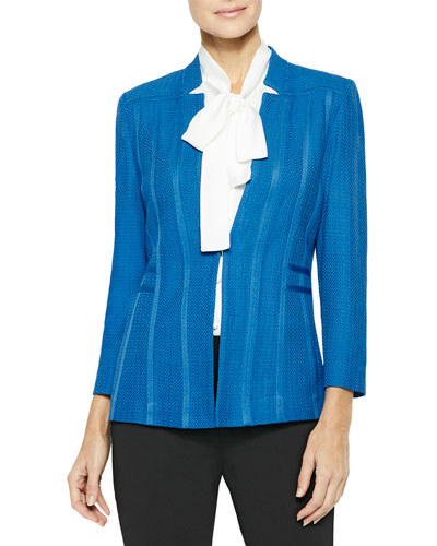 Plus Size Notched Collar Textured Knit Blazer