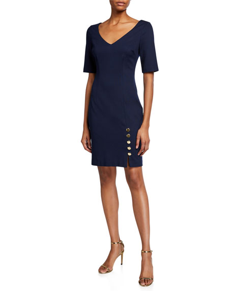 Trina Turk Airy Elbow-Sleeve Tropical Ponte Dress