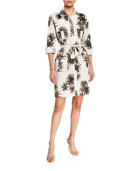 Le Superbe Cannabis Palm Printed Shirt Dress