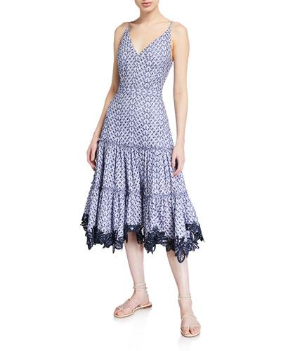 Samara Eyelet Sleeveless Dress w/ Lace Trim