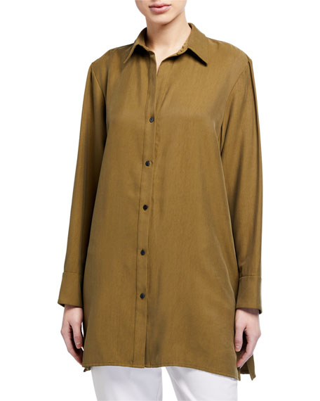 Natori Sanded Twill Button-Down Top