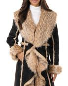 Fabulous Furs Cascade Faux Suede Faux Fur-Trim Full