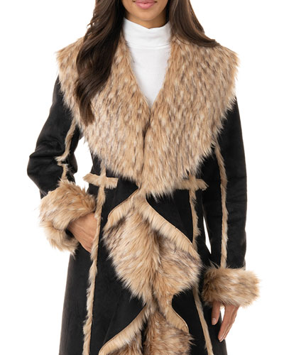 Cascade Faux Suede Faux Fur-Trim Full Coat