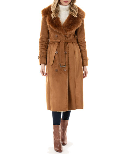 Sequoia Faux Suede Faux Fur-Collar Coat