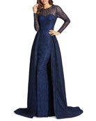 Mac Duggal Long-Sleeve Lace Illusion Column Gown w/