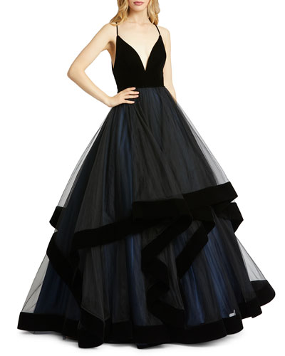 Plunging V-Neck Velvet Trim Tiered Ball Gown