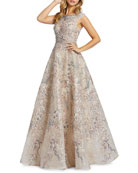 Mac Duggal Beaded Floral Embroidered Boat-Neck A-Line Gown