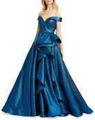 Mac Duggal Metallic Off-the-Shoulder Textured Ruffle Ball Gown