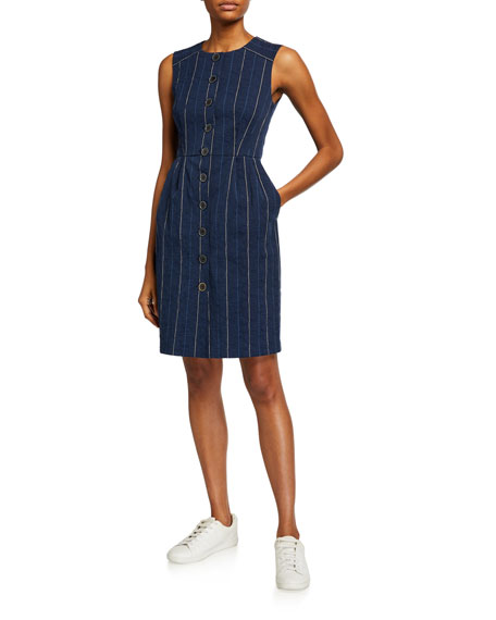 Nanette Lepore Striped Button-Up Denim Sheath Dress