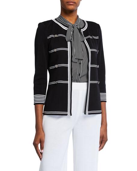Misook Plus Size Stripe Detail 3/4-Sleeve Jacket