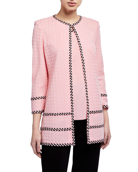 Misook Petite Long Jacket with Tweed Trim