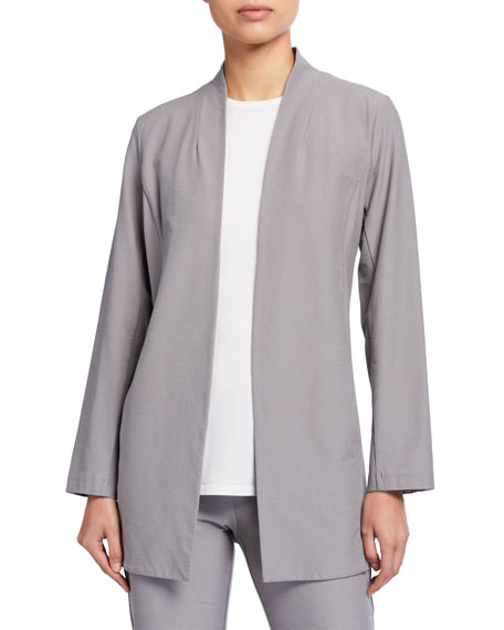 Eileen Fisher Washable Stretch Crepe Long Open Jacket