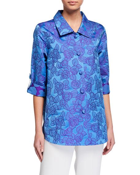 Caroline Rose Plus Size Rumba Rose Button-Front Jacquard Shirt