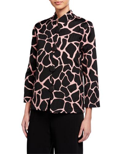 Plus Size Fresh Flirty Easy Jacquard Mandarin Jacket