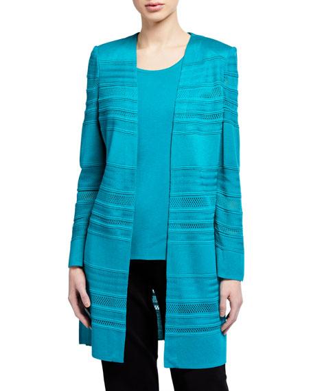 Misook Plus Size Long Textured Stripe Jacket