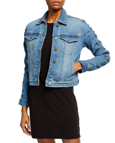 FRAME Le Vintage Denim Jacket with Shirred Sleeves