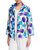Caroline Rose Blooming Colors Stretch Cotton Zip-Front Jacket