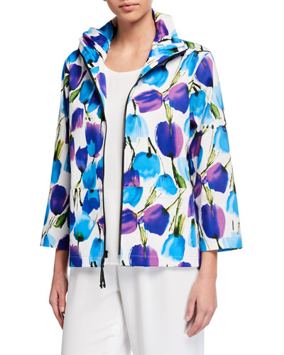 Blooming Colors Stretch Cotton Zip-Front Jacket