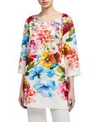 Caroline Rose Plus Size Flirty Floral 3/4-Sleeve Printed