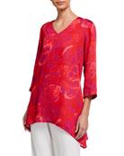 Caroline Rose Cha Cha Print V-Neck 3/4-Sleeve Party