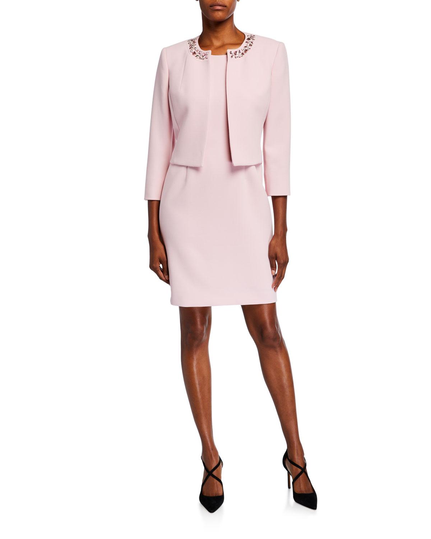 Albert Nipon Textured Crepe Pink Dress And Jacket In Tutu Pink