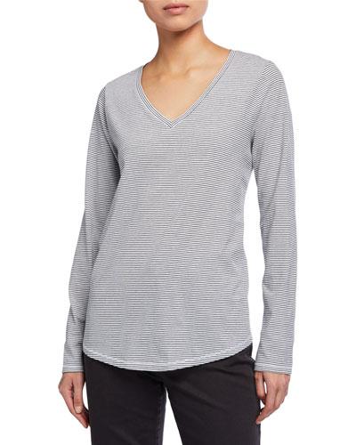 Striped Organic Cotton Jersey V-Neck Long-Sleeve Tee