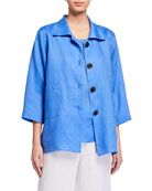Caroline Rose Plus Size Tissue Linen Panel Shirt