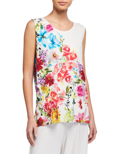 Plus Size Flirty Floral Long Stretch Knit Tank