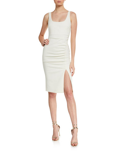 Calero Ruched Square-Neck Dress