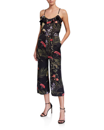 Coolred-Women Floral Printing Sleeveless High Waist Split Straps Jumpsuits
