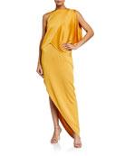 Halston Dramatic Satin Drape Asymmetrical Pebble Crepe Gown
