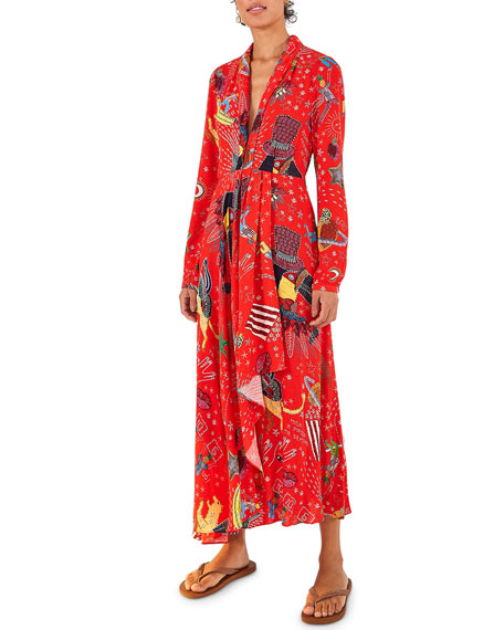 Farm Rio Carnival Long-Sleeve Maxi Dress