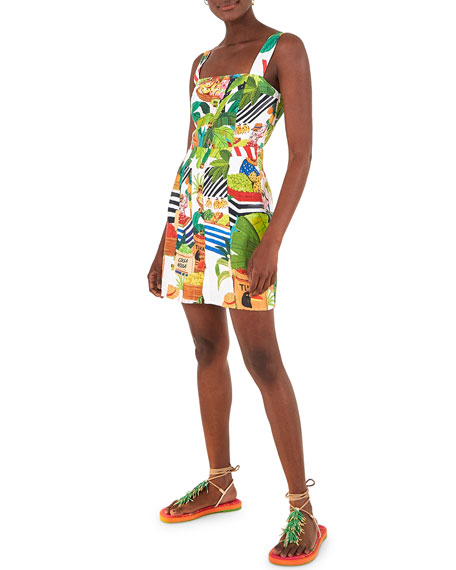 Farm Rio Tropical Fair Linen Mini Dress