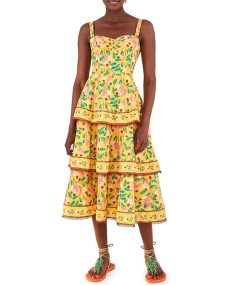 Farm Rio Cashew Tiered Midi Dress