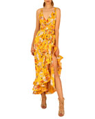 Bronx and Banco Narciss Floral High-Low Ruffle Maxi