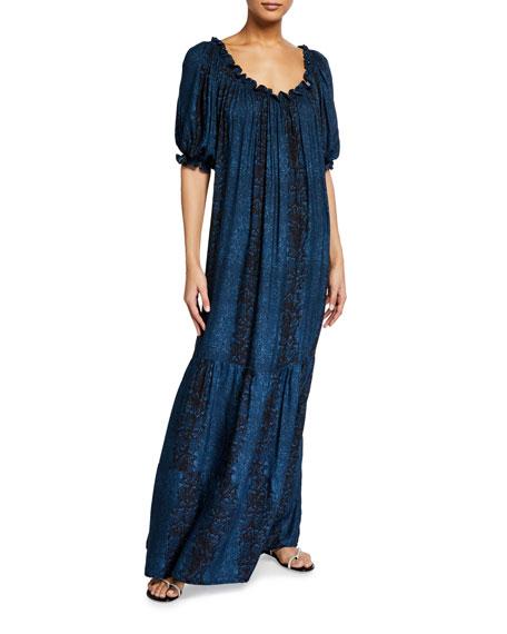 Hansine Slena Folk Tiered Maxi Dress