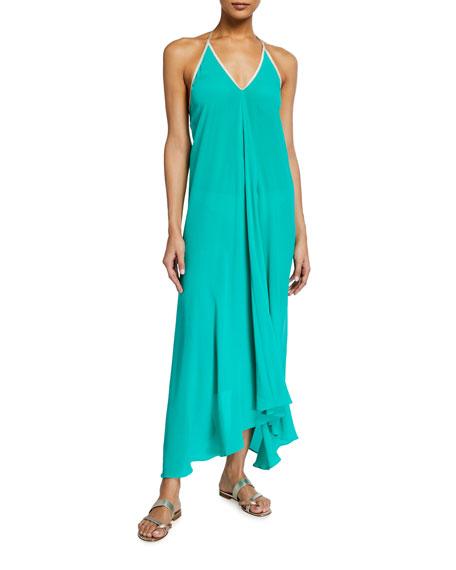 Hansine Rhodes Halter Dress w/ Sparkle Trim