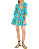 Farm Rio Banana Sky Long-Sleeve Mini Dress
