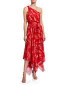 Halston Braided Strap One-Shoulder Georgette Handkerchief Gown