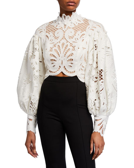 Zimmermann Wavelength Embroidered Cropped Top