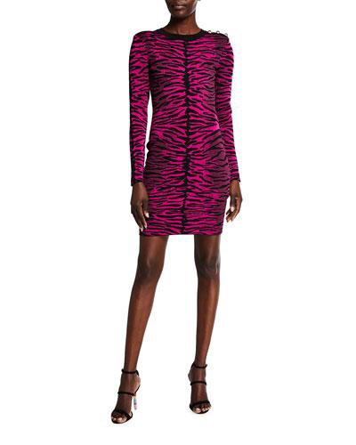 Tiger Jacquard Long-Sleeve Dress