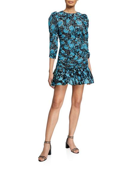 Tanya Taylor Raven Printed Puff-Sleeve Flounce Dress